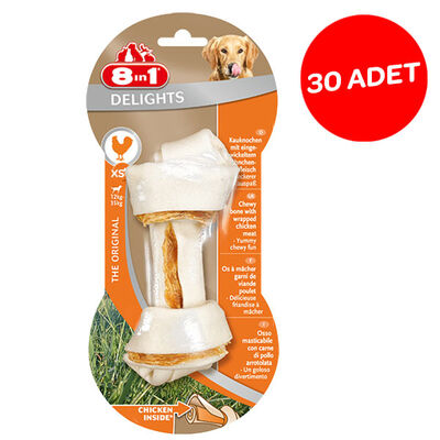 8in1 Delights Bones Düğümlü Tavuklu Köpek Kemiği XS 30'lu Paket