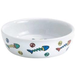Beeztees - Beeztees Balık Desenli Porselen Mama Kabı 330 ML
