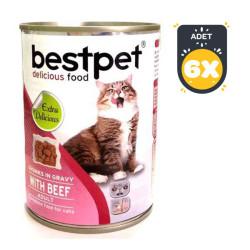 Best Pet - Best Pet Biftekli Kedi Konservesi 400 GR x 6 Adet