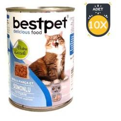 Best Pet - Best Pet Somon Balıklı Kedi Konservesi 400 GR x 10 Adet