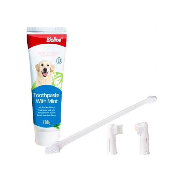 Bioline Nane Aromalı Köpek Ağız Bakım Seti 100 GR