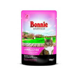 Bonnie - Bonnie Pouch Jelly Kuzu Etli ve Ciğerli Kedi Konservesi 100 GR