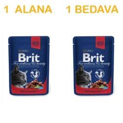 Brit Care - Brit Premium Kediler İçin Sığır Etli Yaş Mama 100 GR ( 1 Alana 1 Bedava )