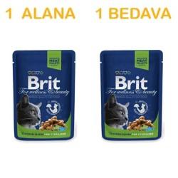 Brit Care - Brit Premium Kısırlaştırılmış Kediler İçin Tavuklu Yaş Pouch Mama 100 Gr ( 1 Alana 1 Bedava )