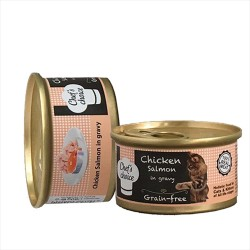 Chefs Choice - Chefs Choice Soslu Tavuk ve Somonlu Kıyılmış Tahılısız Kedi Konservesi 80 GR