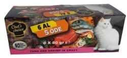 Chefs Choice - Chefs Choice Ton Balığı ve Karidesli Tahılsız Yaş Kedi Maması 80 GR * 5+1 Bonus