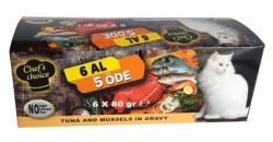Chefs Choice - Chefs Choice Ton Balık ve Midyeli Tahılsız Yaş Kedi Maması 80 GR * 5+1 Bonus