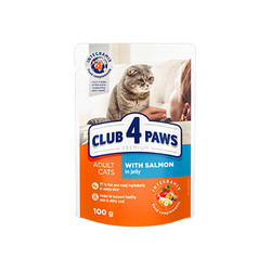 Club4Paws - Club4Paws Somonlu Premium Pouch Kedi Konserve Maması 100Gr