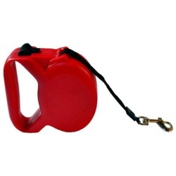 Dog Leash Otomatik Şerit Köpek Gezdirme Tasması Kırmızı 5 metre - Thumbnail
