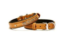 Doggie - Doggie Comfort Deri İsimlikli Boyun Tasması SBT3014M