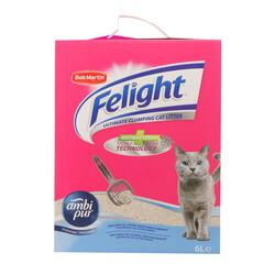 Felight Febreze Süper Beyaz Bentonit Topaklanan Kedi Kumu 6 lt - Thumbnail