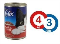 Felix - Felix Biftekli ve Tavuklu Yaş Kedi Maması 400 GR (4 AL 3 ÖDE)