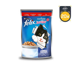 Felix - Felix Jöle İçinde Sığır Etli Yavru Yaş Kedi Maması 100 GR x 20 Adet