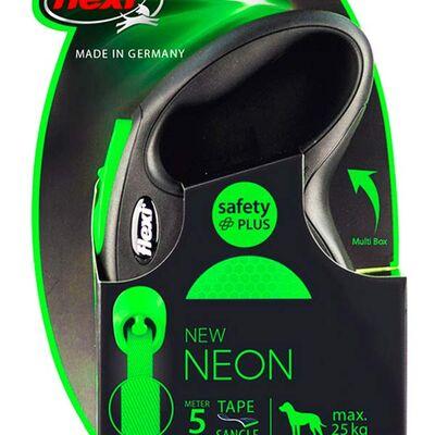 Flexi New Neon Otomatik Yeşil Şerit Gezdirme Medium 5 Mt