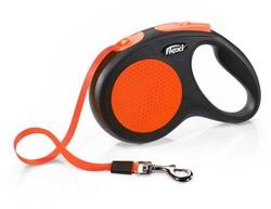 Flexi - Flexi New Neon Turuncu Otomatik Şerit Gezdirme Tasması Medium