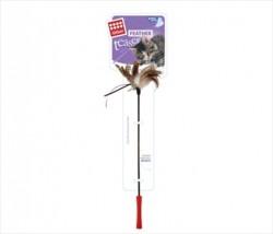 Flip - GiGwi Feather Kahveengi-Beyaz Tüylü Zilli Kedi Olta 60 Cm