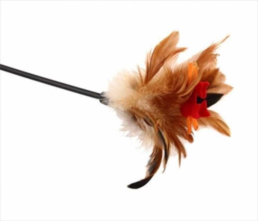 GiGwi Feather Kahverengi-Siyah Tüylü Kedi Oltası 60 Cm