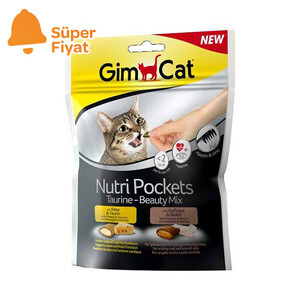 GimCat Nutripockets Kedi Ödülü Taurin&Beauty 150Gr - Thumbnail