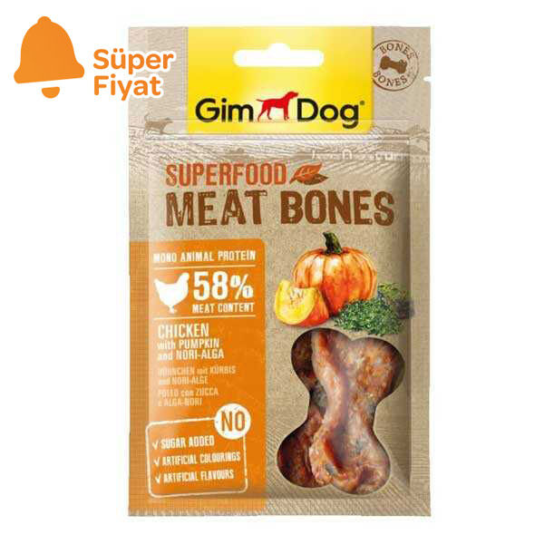 Gimdog Meat Bones Kabaklı ve Nori Yosunlu Tavuk Köpek Ödülü 70 gr