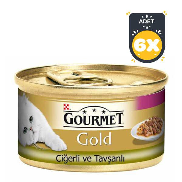 Gourmet Gold Ciğerli Tavşanlı Kedi Konservesi 85GR x 6 Adet