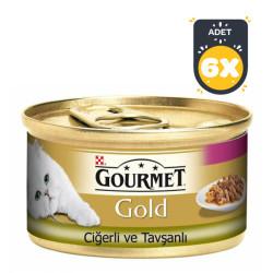 Gourmet - Gourmet Gold Ciğerli Tavşanlı Kedi Konservesi 85GR x 6 Adet