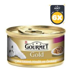 Gourmet - Gourmet Gold Hindili Ördekli Kedi Konservesi 85GR x 6 Adet