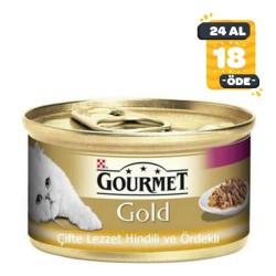 Gourmet - Gourmet Gold Hindili Ördekli Kedi Konservesi 85GR * 24 Adet