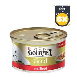 Gourmet - Gourmet Gold Kıyılmış Sığır Etli Kedi Konserve 85 GR x 6 Adet