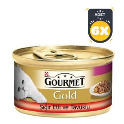 Gourmet - Gourmet Gold Sığır Eti ve Tavuklu Kedi Konservesi 85 Gr x 6 Adet