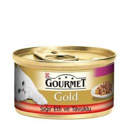 Gourmet - Gourmet Gold Sığır Eti ve Tavuklu Kedi Konservesi 85 Gr