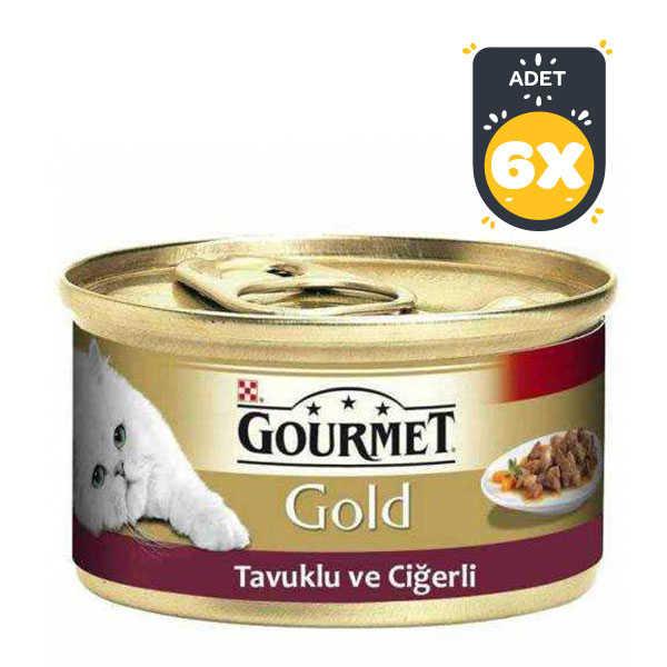 Gourmet Gold Tavuk ve Ciğerli Kedi Konservesi 85 Gr x 6 Adet