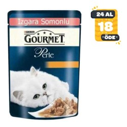 Gourmet - Gourmet Perle Izgara Somonlu Kedi Konserve Maması 85GR * 24 Adet