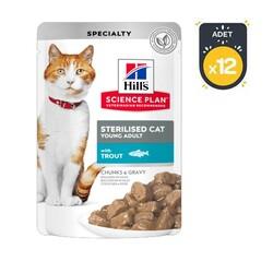 Hills - Hills Kısır Kediler İçin Alabalıklı Yaş Kedi Maması 85 GR x 12 Adet