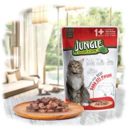 Jungle - Jungle Biftekli Kedi Yaş Mama 100 GR 22 Adet