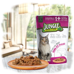 Jungle - Jungle Biftekli Kısır Kedi Yaş Mama 100 GR 22 Adet