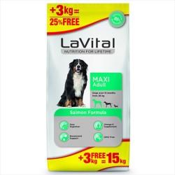 La Vital - La Vital Büyük Irk Somonlu Köpek Maması 12 KG + 3 KG