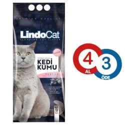LindoCat - LindoCat Topaklanan Parfümlü Kedi Kumu 10 LT ( 4 AL 3 ÖDE )