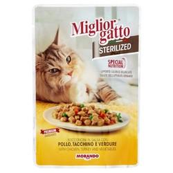 Miglior - Miglior Tavuk Hindi Ve Sebzeli Kısırlaştırılmış Kedi Yaş Maması 85 GR