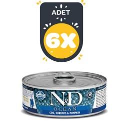 Farmina N&D - ND Tahılsız Ocean Bal Kabaklı Balık ve Karidesli Yavru Kedi Konservesi 80 GR * 6 ADET