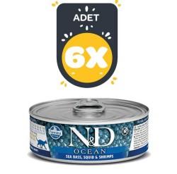 Farmina N&D - ND Tahılsız Ocean Levrek Mürekkep Balığı Ve Karidesli Kedi Konserve 80 GR * 6 Adet