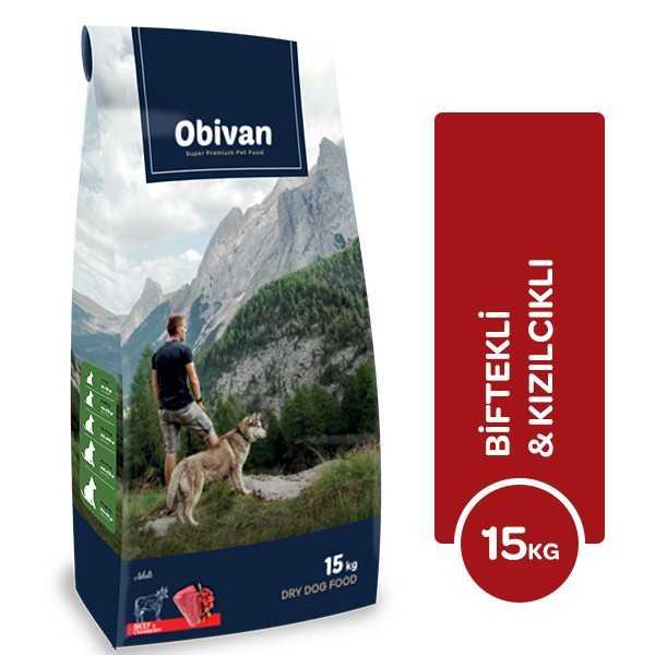 Obivan Biftekli & Kızılcıklı Köpek Maması 15 KG