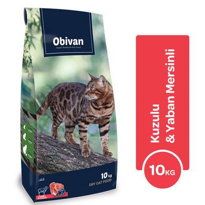 Obivan Kuzu Etli ve Yaban Mersinli Kedi Maması 10 KG