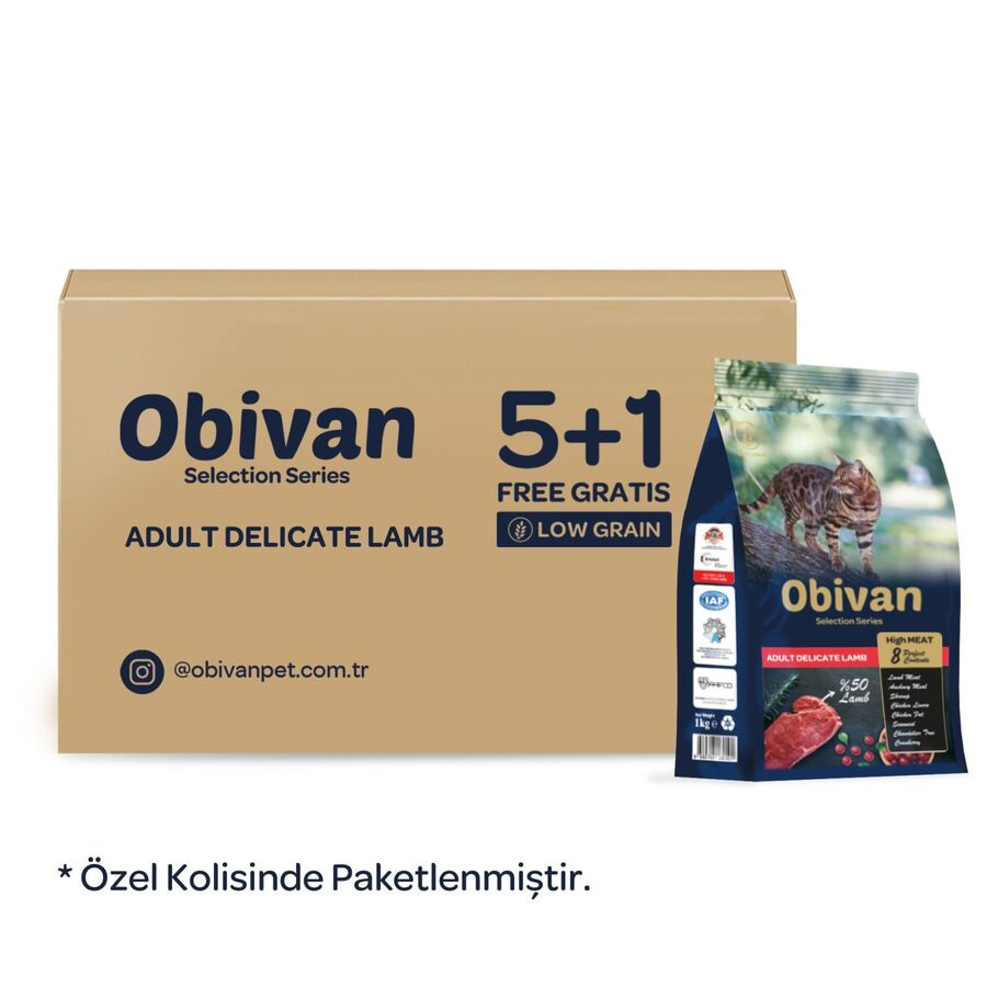 Obivan Low Grain Delicate Kuzu Etli Kedi Maması 1 KG x 6 Adet