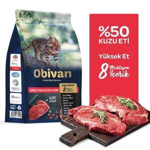 Obivan Selection Delicate Kuzu Etli Kedi Maması 1 KG - Thumbnail