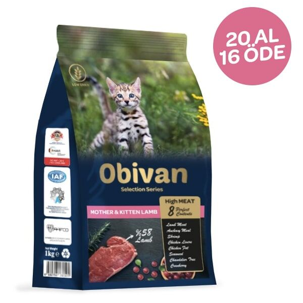 Obivan Low Grain Kuzu Etli Yavru Kedi Maması 1 KG x 20 Adet