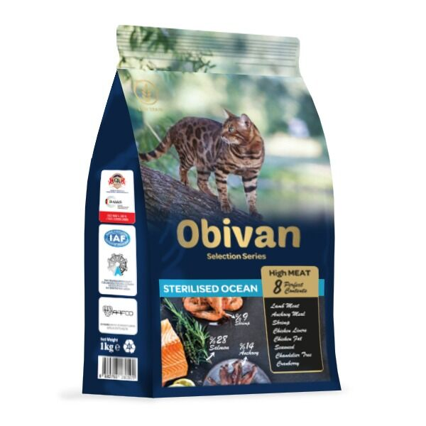Obivan Low Grain Ocean Kısırlaştırılmış Kedi Maması 1 KG