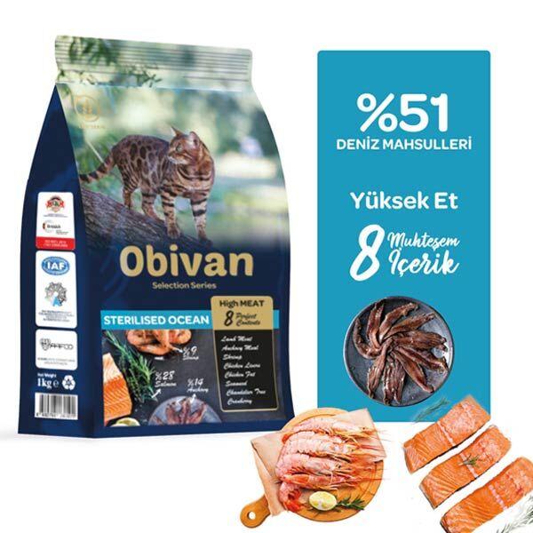 Obivan Low Grain Ocean Kısırlaştırılmış Kedi Maması 1 KG x 6 Adet