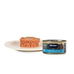 Obivan Tahılsız Somon Balıklı Ezme Kısırlaştırılmış Kedi Yaş Maması 80 GR - Thumbnail