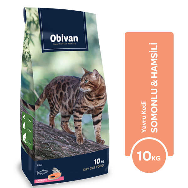 Obivan Somon ve Hamsili Yavru Kedi Maması 10 KG