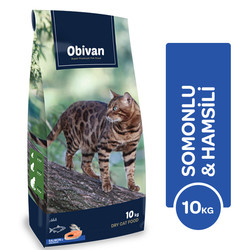 Obivan - Obivan Somonlu ve Hamsili Kedi Maması 10 KG
